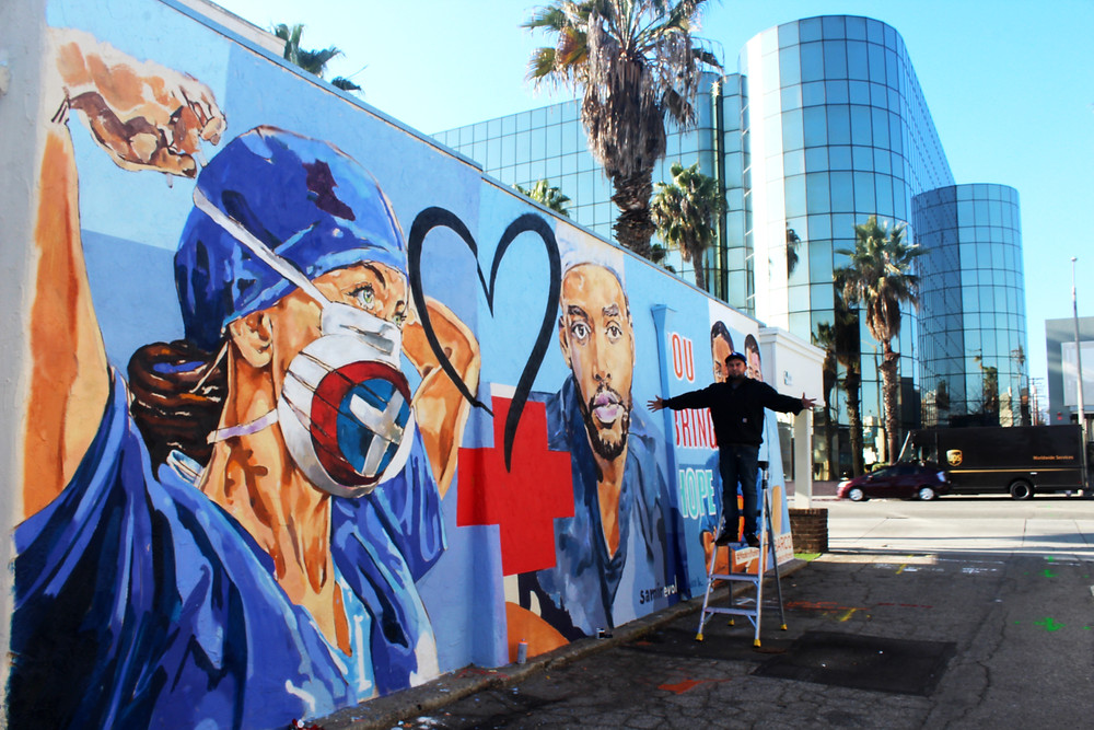 Mural in Los Angeles for Barco Uniforms by Samir Evol