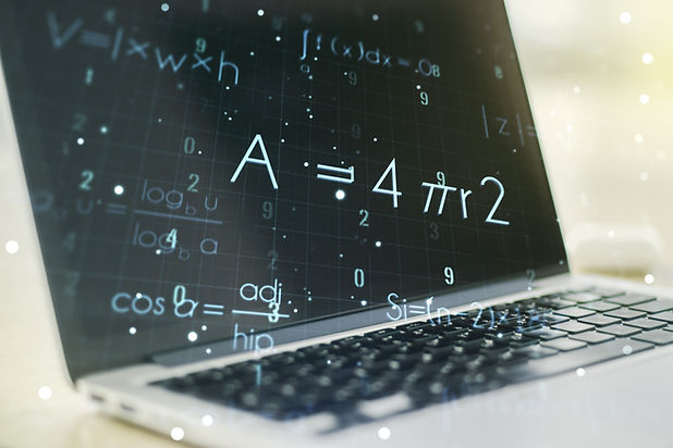 Double exposure of creative scientific formula concept on laptop background, research and