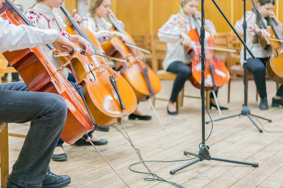 Children's violin ensemble. Children wit
