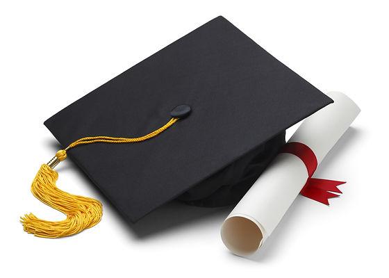 Black Graduation Cap with Degree Isolate