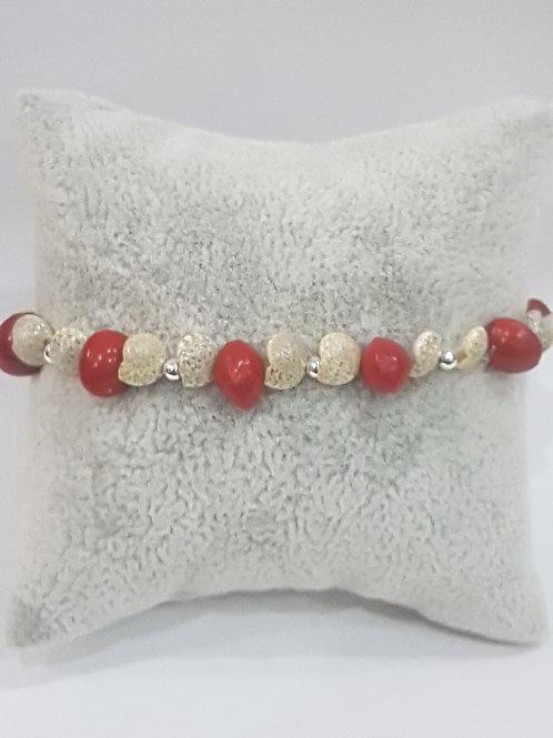 Bracelet graines église et coquillages