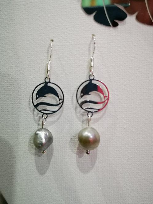 Boucles d'oreilles ARGENT avec  KESHIS de TAHITI