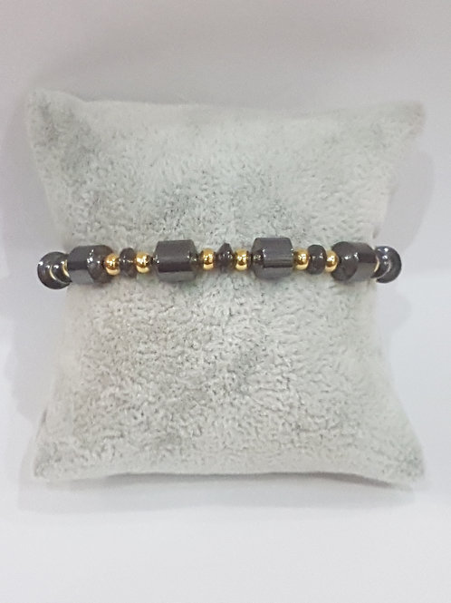 Bracelet Hématite avec perles dorée
