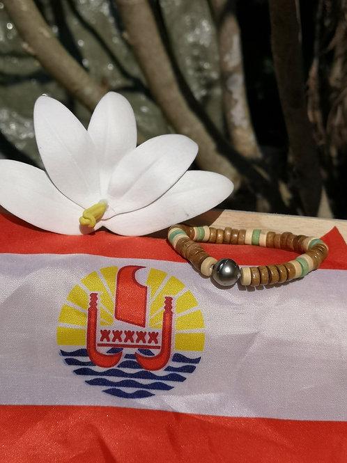 Bracelet en Bois et Perle de TAHITI