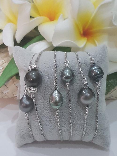 Bracelet glissière avec Perle Baroque de TAHITI