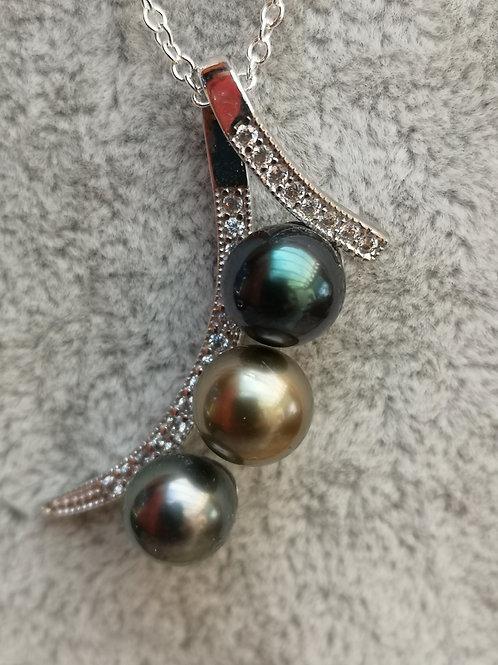 Pendentif Argent Rhodié avec 3 Perles de TAHITI