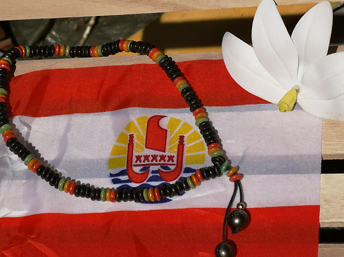 Collier en Bois avec 2 Perles de TAHITI
