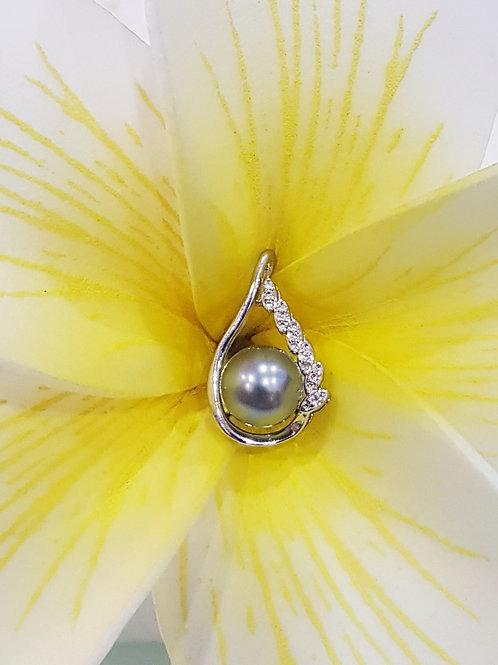 Pendentif Argent Rhodié et Perle de TAHITI