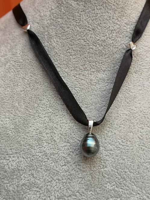 Pendantif Perle de TAHITI Argent avec ruban