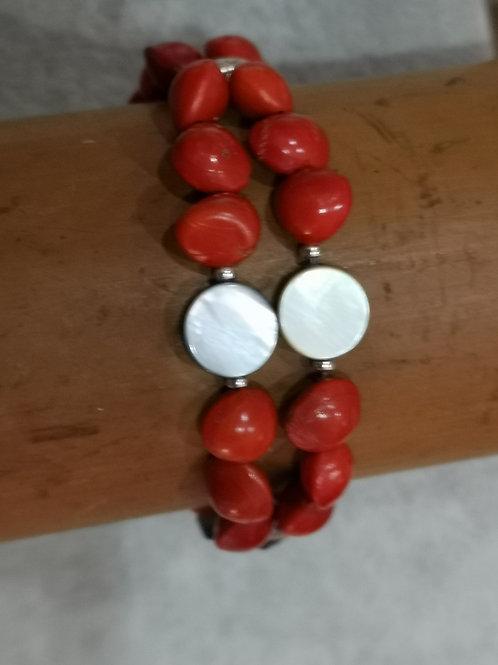 Bracelet en graines et Nacres DOUBLE