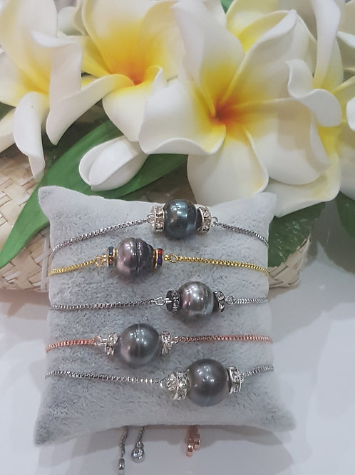 Bracelet glissière avec Perle de TAHITI