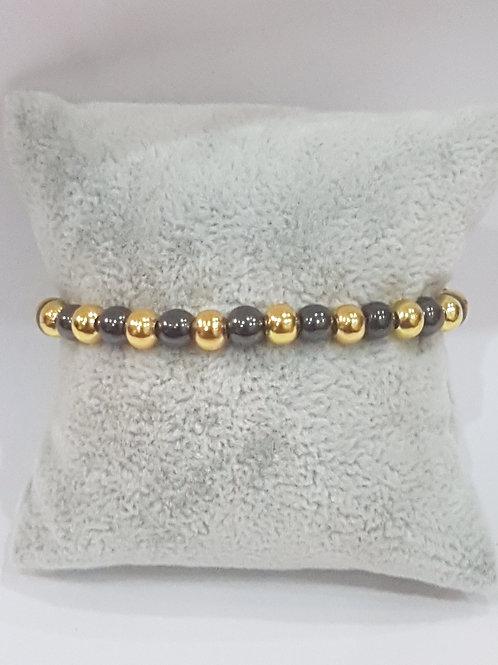 Bracelet Hématiteavec perles dorée