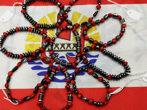 Bracelet Hématite et Graines Rouge