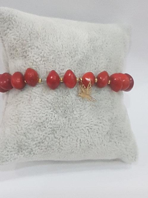 Bracelet graines d'eglise avec charme colibris dorée