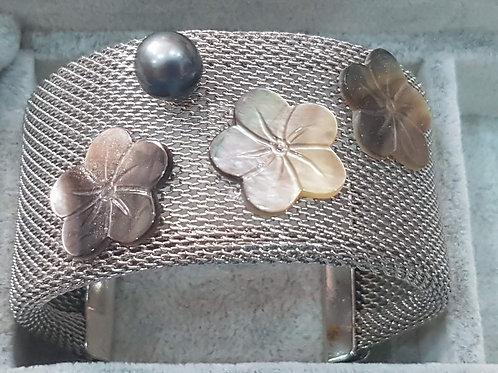 Bracelet Manchette Acier avec Perle deTAHITI et Nacre