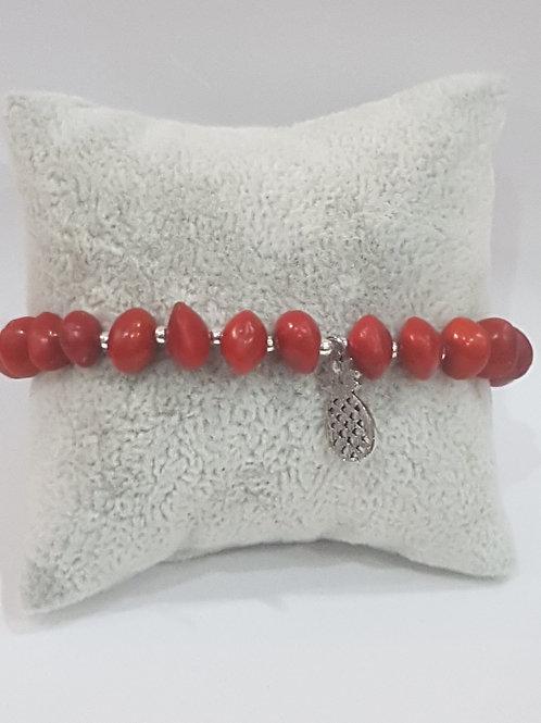 Bracelet graines d'eglise avec charme Ananas