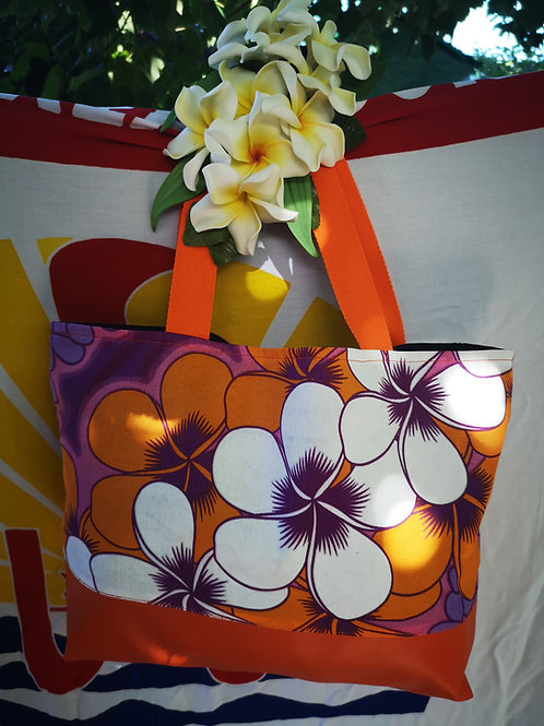 Sac fleurs orange simili cuir reversible