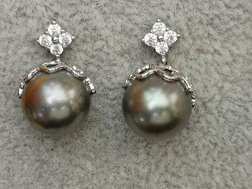 Boucles d'oreilles ARGENT avec Perles de TAHITI