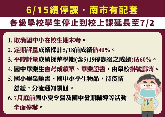 [公告]  因應「新冠疫情」停課延長至7/2(五)與暑期營隊相關事項