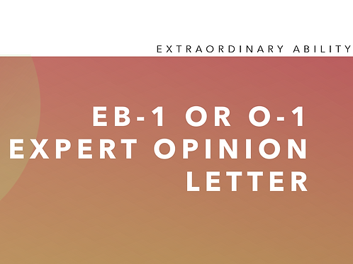 EB-1 or O-1 Expert Opinion Letter