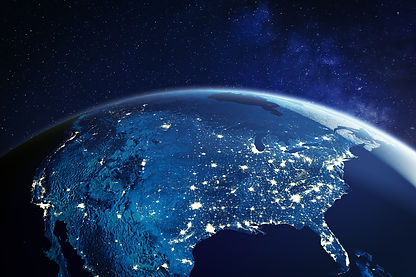 USA from space at night with city lights