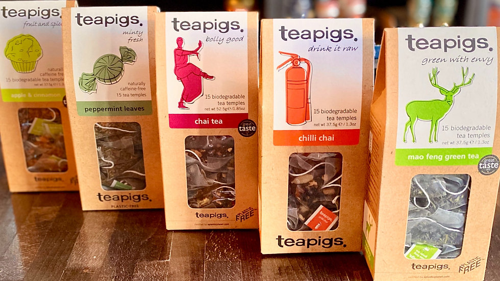 Teapigs Apple & Cinnamon, Peppermint, Chai, Chilli Chai, Mao Feng Green