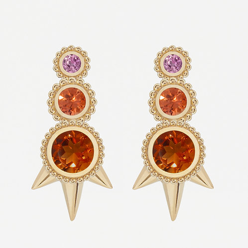 Round Citrine and Fancy Sapphires Studs