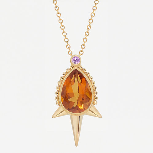 Large Pear Citrine Necklace