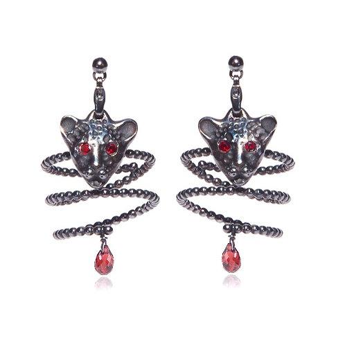 Bloody Black Leopard earrings-rings