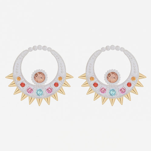 White Moon Earrings with Fancy Sapphires