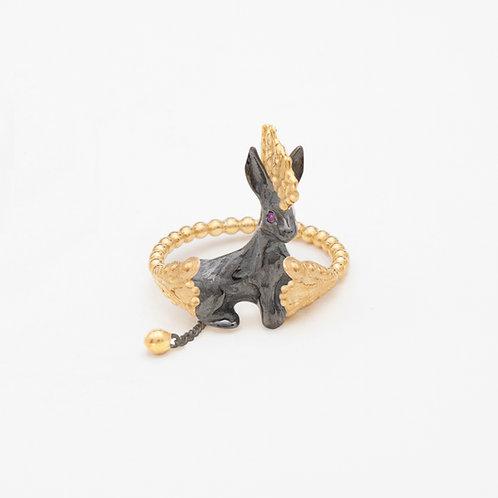 Punk Black Rabbit ring