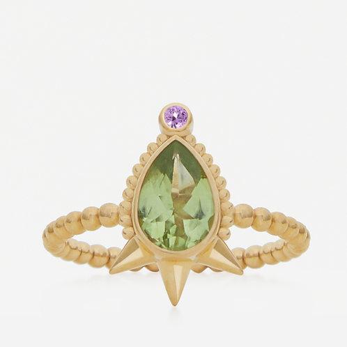Large Pear Peridot Ring