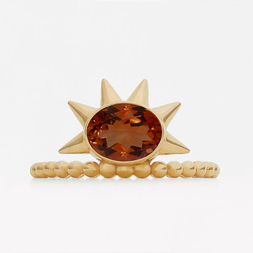 Spike Oval Madeira Citrine Ring