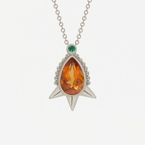 18K White Gold Short Spike Pear Citrine Necklace