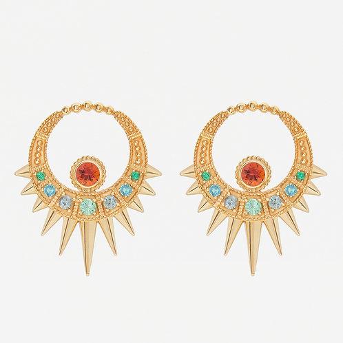 Long Green Moon Earrings