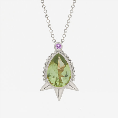 18K White Gold Large Pear Peridot Necklace