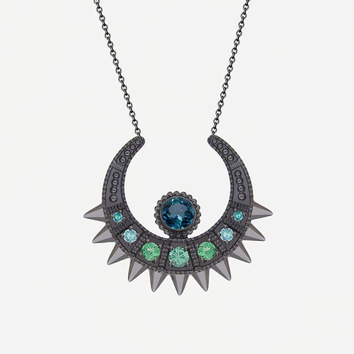 Black  Moon Necklace with Tsavorites