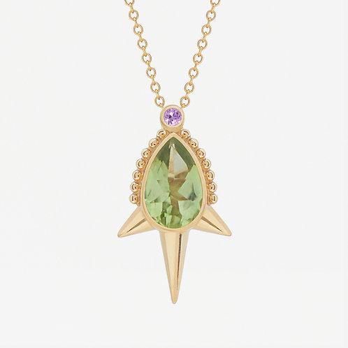 Long Spike Pear Peridot Necklace