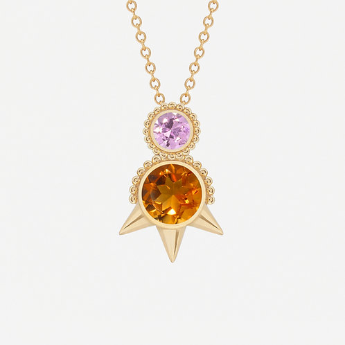 Round Citrine and Pink Sapphire Necklace