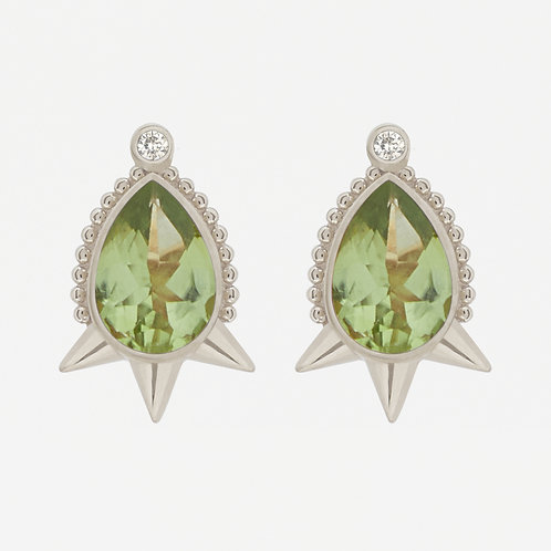 18K White Gold Large Pear Peridot Studs