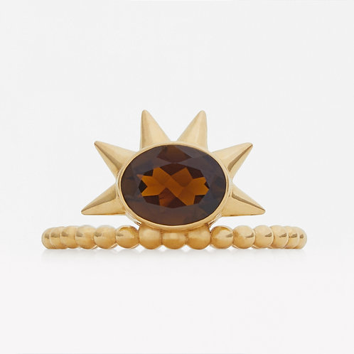 Spike Oval Brown Tourmaline Ring