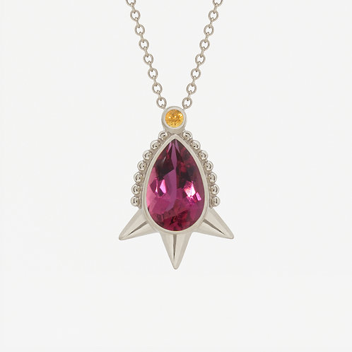 18K White Gold Short Spike Pear Tourmaline Necklace
