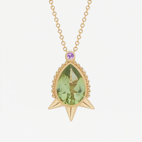Large Pear Peridot Necklace