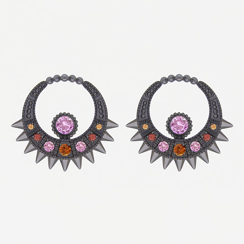 Black Spike Moon Earrings with Sapphires