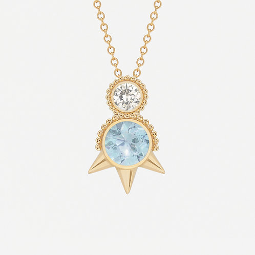 Round Topaz and White Sapphire Necklace