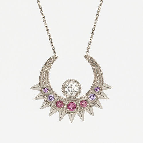 18K White Gold Pink Spike Moon Necklace