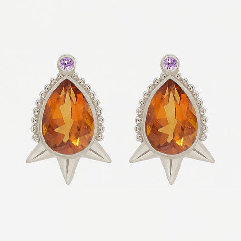 White Gold Large Pear Citrine Studs