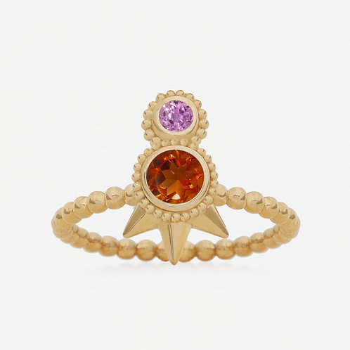 Small Round Citrine and Pink Sapphires. Ring