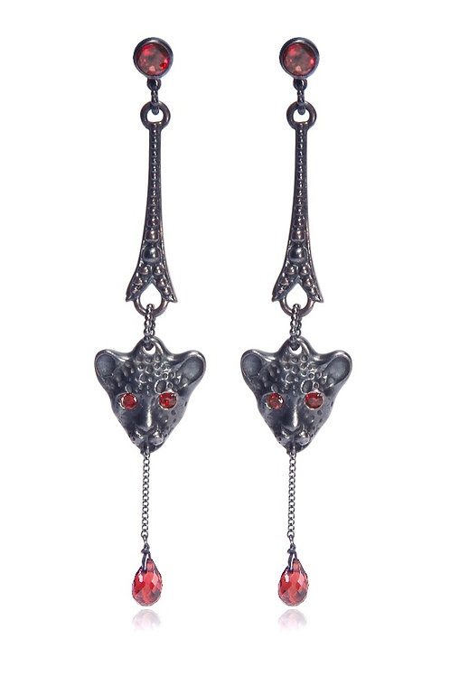 Bloody Black Leopard long earrings
