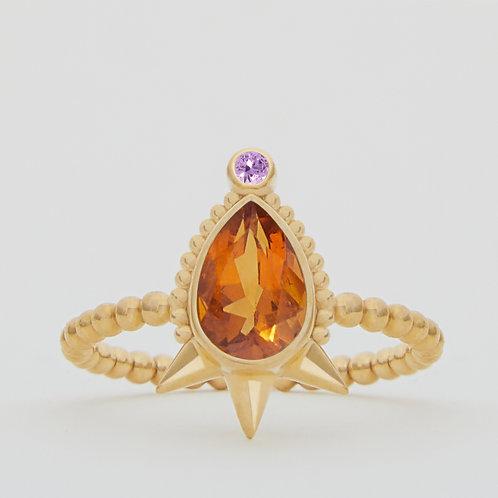 Large Pear Citrine Ring